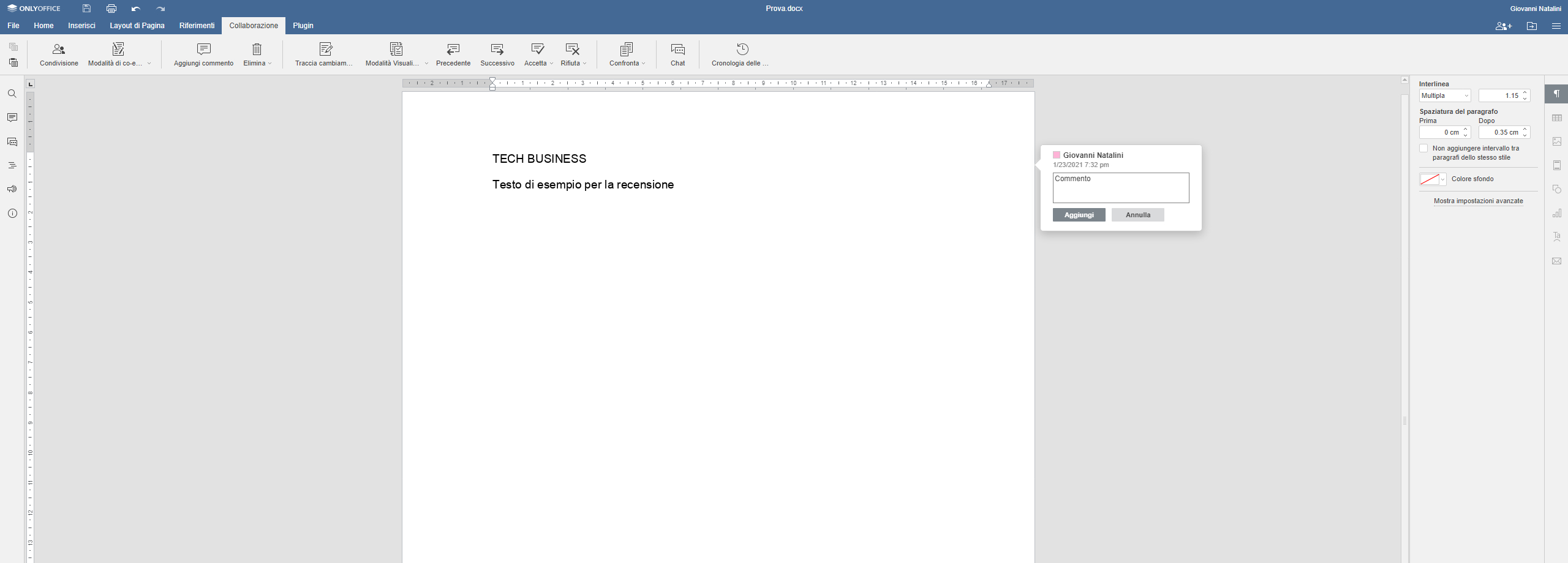 ONLYOFFICE recensione editor